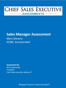 Sales Manager Assessments - Assessment Report